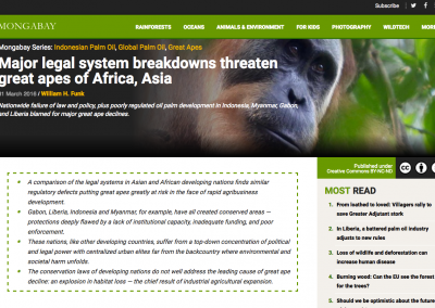 Major legal system breakdowns threaten great apes of Africa, Asia